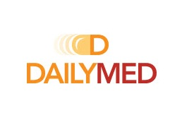 Orange and red DailyMed logo.