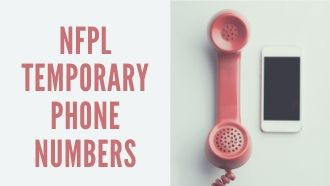"Photo of a pink landline phone beside a smartphone. Text reads ""NFPL temporary phone numbers."""