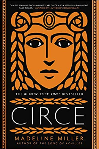 Cover of the book Circe by Madeline Miller. A woman's face in terra cotta on a black background, in the style of ancient Greek pottery.