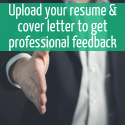 "Man extending hand to shake.  Text reads ""Upload your resume & cover letter to get professional feedback"""